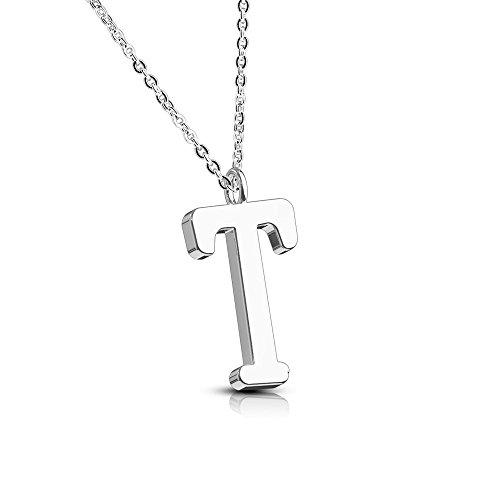 Bungsa® Buchstabe T Halskette Silber - Buchstaben-ANHÄNGER T Kette - Alphabet Kette für Frauen & Männer - aus Edelstahl - Schmuck für Jungen & Mädchen