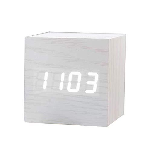 HJTLK Relojes despertadores de cabecera Reloj Despertador de Madera Cubo Moderno Temperatura Hora Fecha Pantalla a su Vez Control de Voz Brillo Ajustable Negro