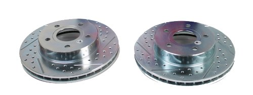 BAER 05115-020 Sport Rotors Slotted Drilled Zinc Plated Front Brake Rotor Set - Pair