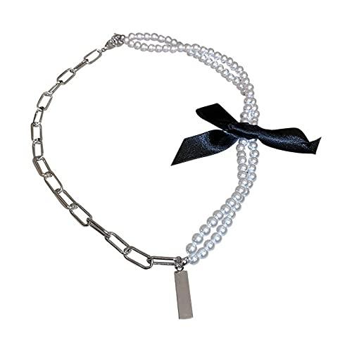 WDBUN Collar Colgante Joyas Collar de Bowknot Negro Año Nuevo Collar de Perlas de Moda Joven Cadena de clavícula Corta para Mujer Víspera de Todos los Santos Navidad Fiesta de cumpleaños Regalo