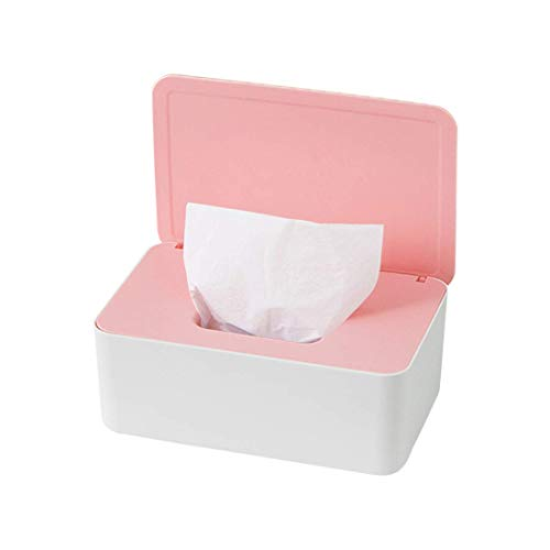 O-Kinee Feuchttüchter Box, Feuchtes Toilettenpapier Box, Feuchttücher Box Baby, Feuchttücher Aufbewahrungsbox, Kunststoff Feuchttücher Spender mit Deckel für Zuhause Büro, Weiß und Pink