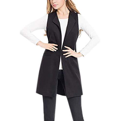 Gilet Donna Fashion Casual Autunno Lunga Mode di Marca Cappotto Business Smanicato Eleganti Ufficio Blazer Giacca Donna Gilet Puro Colore (Color : Schwarz, Size : M)