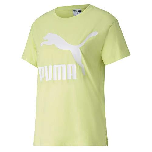 PUMA Classics Logo tee Camiseta, Mujer, Sunny Lime, M