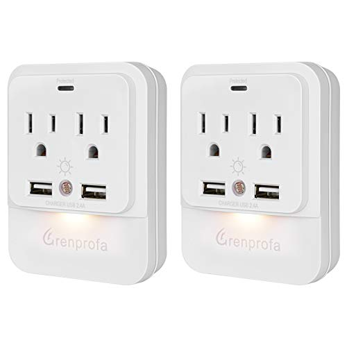 Grenprofa USB Wall Outlet and Dusk-to-Dawn Sensor Night Light
