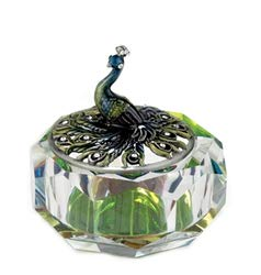 Kubla Crafts Enameled Blue Peacock on Cut Glass Trinket Box, Accented with Austrian Crystals, 3 Inches Diameter