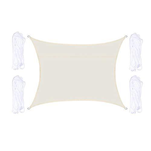 W.Z.H.H.H Schattensegel wasserdichte Sonnenschutz Rechteck Segel Net Markise Vordach Patio-Garten-Abdeckung Pool im Freien Sun Shelter Sonnenschutztuch. (Color : Off White, Size : 13.1x9.84ft)