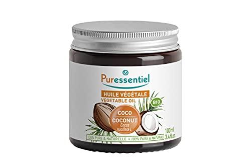 Puressentiel - Huile de Coco Bio - Pressée à Froid - Certifié Bio - 100% Brute, Pure et Naturelle - Vegan et Cruelty Free -Soin Visage, Corps et Cheveux - 100 ml