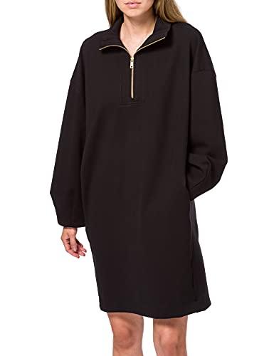Scotch & Soda Maison Damen Sweatshirtkleid aus recycelter Polyester-Mischung im Oversize-Design Kleid, Black 0008, M