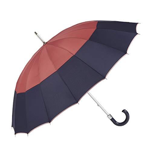 GOTTA Paraguas Largo y Grande de Mujer, 16 Varillas. Antiviento, Manual y con puño Curvo de plástico. Tejido Liso Tricolor - Teja-Azul-Rosa, 19