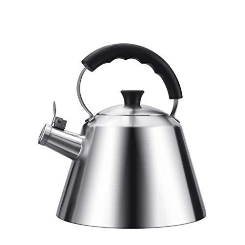 JXLBB Bouilloire de gaz de cuiseur à induction de ménage de 3L de sifflet d'acier inoxydable de gaz de 304 de bouilloire de triangle