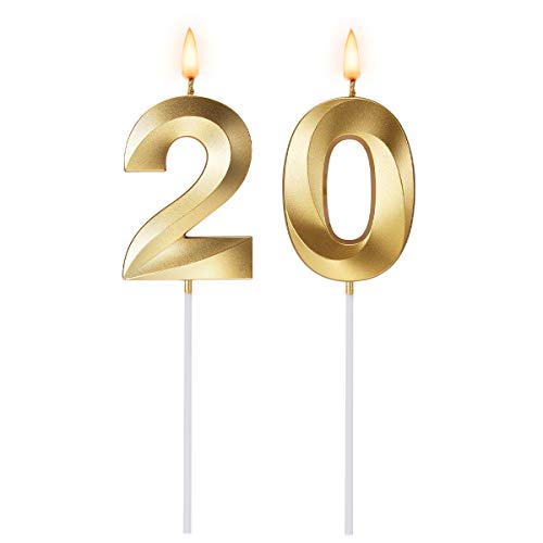 N - A Birthday Candles 20, 20th Birthday Cake Number Candles for Birthday Wedding Anniversary Celebration, Gold