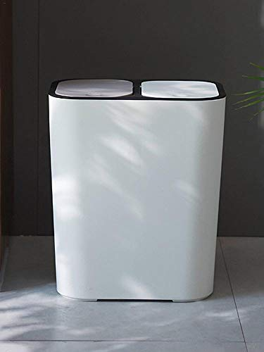 Cohosy Mülleimer mit doppeltem Druckdeckel für Zuhause, Wohnzimmer, Küche, Büro weiß