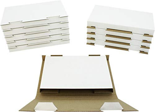 10 White Fold-Up Cardboard Standard Single DVD Case Mailers #DVBC01 - Shipping Boxes / Containers with Lock-In Tab