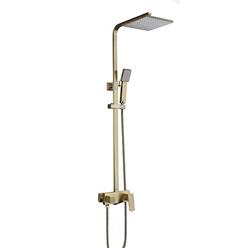 Juego de ducha mezclador de lluvia Brush Gold, grifo mezclador de ducha de bañera de latón de lujo, sistema de ducha expuesto de montaje en pared con caño de bañera