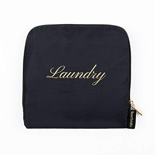 Travel Fanatics Travel Essentials Waterproof Travel Laundry Bag for Dirty Clothes Bag for Traveling with Zipper and Drawstring, Travel Laundry Bags for Dirty Clothes, Travel Accessories - Black