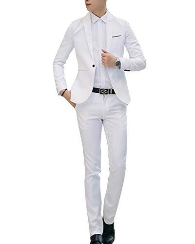 GladiolusA Abito Completo Uomo 2-Pizze Elegante Blazer + Pantaloni Slim Fit Bianca L