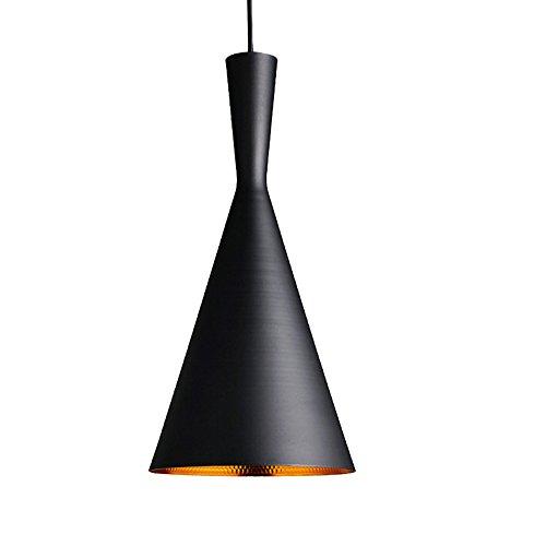 1 x E27 woonkamer slaapkamer LED hanglamp hanglamp lampenkap modern vintage metaal in hoogte verstelbaar hanglamp, E27 grootste - 60 W, (buiten zwart - binnenkant goud)