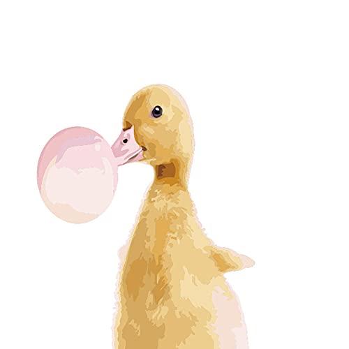 TAOJUNXI Pintura por Números para Adultos Niños DIY Óleo Conjunto Completo De Pinturas para El Hogar Pato, Soplar Burbujas para Decoración del Comedor de Sala de Estar 40 X 50Cm