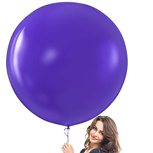 Prextex Purple Giant Balloons - 8 Jumbo 36 Inch Purple Balloons for Photo Shoot, Wedding, Baby Shower, Birthday Party and Event Decoration - Strong Latex Big Round Balloons - Helium Quality