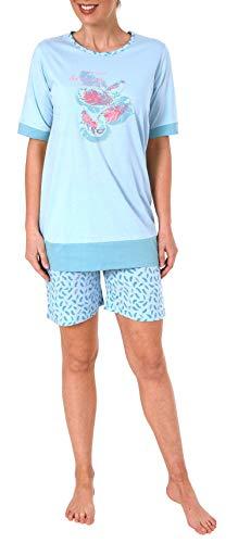 Damen Shortie Pyjama Schlafanzug Kurzarm von Normann, Federn als Motiv - 191 205 90 212, Farbe:hellblau, Größe2:36/38