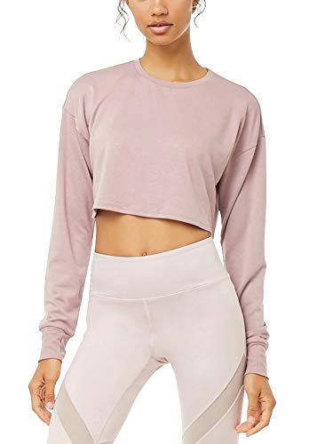 Bestisun Long Sleeve Crop Tops Workout Shirts with Thumb Hole for Women Pink S