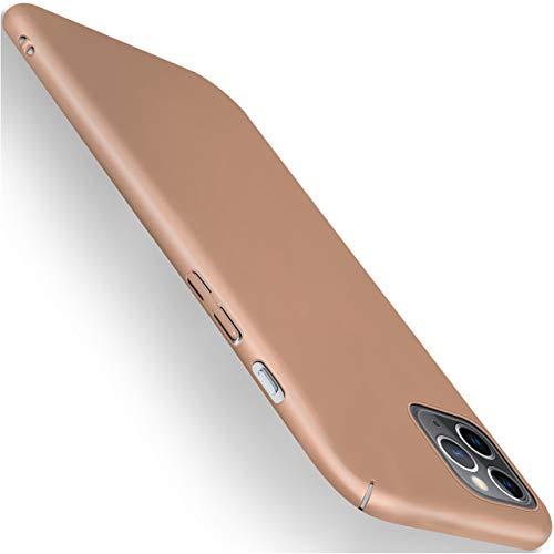 moex Alpha Hülle für iPhone 11 Pro Hülle Stoßfest & Leicht Handyhülle Extra Dünn, Super Slim Schutzhülle Ultra Air Hybrid PC Hardcase aus Kunststoff - Matt Gold