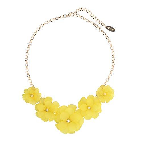 BOCAR Newest Acrylic Pendant Collar Flower Statement Choker Necklace for Women(NK-10241-yellow)