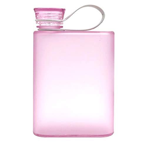 Zarupeng Wasserflasche, Klar Portable Trinkflasche Eco Friendly Kunststoff Sporttrinkflasche Trinkbecher Flach Getränke Tasse Wasserkocher (One Size, Rosa)