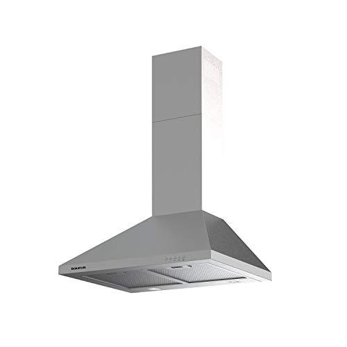 Taurus PR60IXAL - Cappa decorativa in acciaio inox, larghezza 60 cm, 650 m3/h di aspirazione, 3 velocità, comandi meccanici, efficienza A, 200 W, filtri in alluminio lavabili multistrato, LED