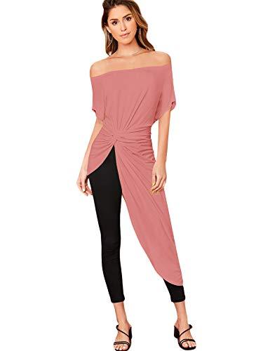 SheIn Blusa elegante asimétrica para mujer con hombros descubiertos, parte delantera y lisa, alta y baja, Rosado (Dusty Pink), M