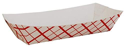 Red Check Hot Dog Tray Party Catering Disposable Trays (50) Made in USA