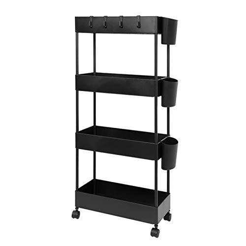JAKAGO - Carrito rodante de almacenamiento con diseño delgado, estante organizador de 4 niveles para espacios pequeños, práctica estantería móvil para despensa, cocina, oficina, cuarto de baño