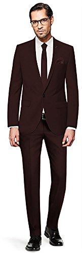 PABLO CASSINI Herren Anzug Fine Art - 3 teilig - Dunkelbraun Braun Smoking Ein-Knopf Hochzeit Business PCS_5 (56)