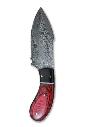 Perkin - Cuchillo de caza de acero Damasco hecho a mano - Tang completo