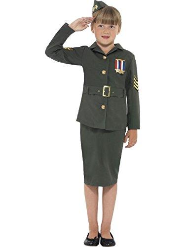 Smiffy's Niña WW2 Militar Disfraz - Edad 7 8 9 10 11 12 - Verde, 7-9 Años
