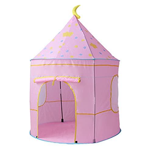 ZSDFW Tienda de campaña plegable para niños, castillo de princesa, tienda de juegos, para interiores y exteriores, y tienda de campaña para niños y niñas, color rosa