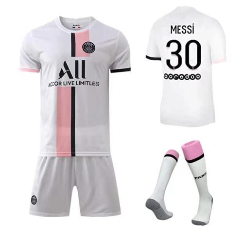 YGXICN N/A Maillot de l'équipe de Paris-Messi-30 PSG Maillot de Formation Messi avec Chaussettes Vêtements de Football pour Hommes Femmes Enfants (Rose, M(Taille170-175))