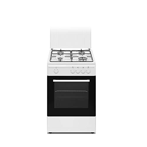 Nikkei SN554WE - Cucina a gas 4 fuochi con forno elettrico con grill 50x50 cm colore bianco