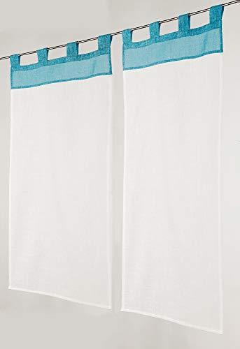 Linder - Tenda con Occhielli, 60% Poliestere, 40% Cotone, 45 x 90 cm, Colore: Blu