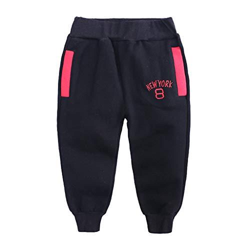 Sunenjoy Pantalon Bébé Garçon Fille Sarouel Élastique Pantalon de Jogging Running Sport Letter Imprimé Casual Mode Mignon pour Enfant 1-6 Ans (2-3 Ans, Noir)
