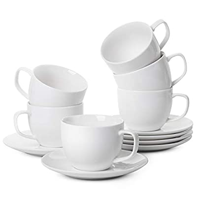 BTaT- Tea Cups and Saucers, Set of 6 (5 oz) with Gold Trim and Gift Box, Cappuccino Cups, Coffee Cups, White Tea Cup Set, British Coffee Cups, Porcelain Tea Set, Latte Cups, Espresso Mug, White Cups