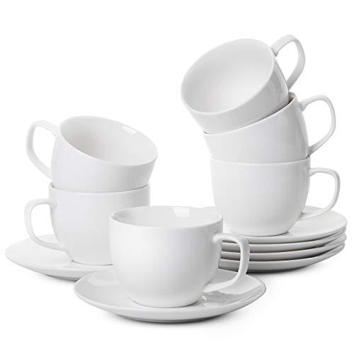 BTaT- Tea Cups and Saucers, Set of 6 (8 oz), Cappuccino Cups, Coffee Cups, White Tea Cup Set, British Coffee Cups, Porcelain Tea Set, Latte Cups, Espresso Mug, White Cups