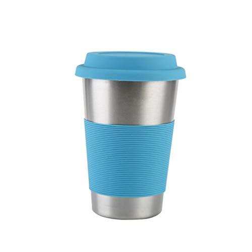 Vosarea 500ml Edelstahlbecher mit Silikonhülsen Reisebecher Kaffeebecher Bierbecher Wasserkaffeetasse für das Heimreisegymnastik