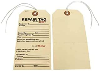 Repair Tag, 2-7/8 in W x 5-3/4 in H, PK100