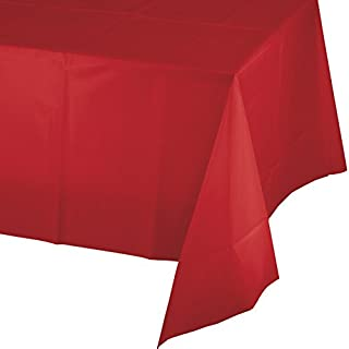 "Creative Converting 913548 Celebrations Plastic Table Cover, 54 by 108"", Classic Red"