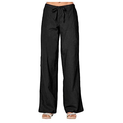 BZSHBS Linen Pants for Women High Waist Beach Straight Leg Elastic Waist Summer Casual Trouser with Pockets Black XL