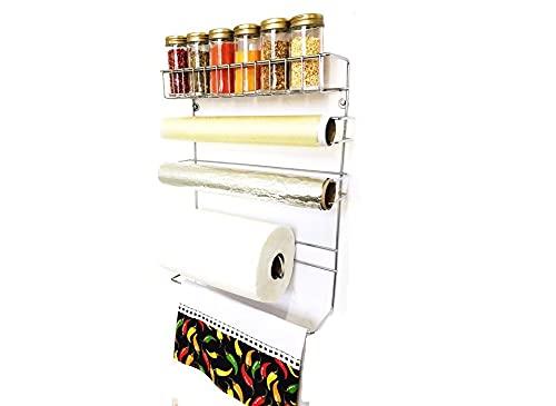 Conjunto Porta Papel Toalha 5 em 1 Cromado com 6 Potes para Tempero Vidro Tampa Dourada