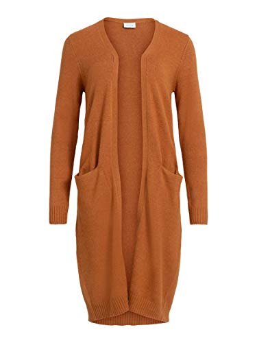 Vila Clothes VIRIL Long L/S Knit Cardigan-Noos Suter crdigan, Espíritu Calabaza, XS para Mujer