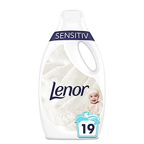 Lenor Waschmittel Flüssig, Flüssigwaschmittel, 19 Waschladungen, Sensitiv für sensible Haut und Babyhaut (1.045 L)