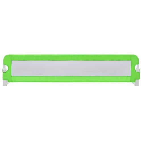 vidaXL Barrière de Sécurité de Lit Enfant Rail de Lit Pliable Barrière de Protection Bébé Chambre à Coucher Vert 180x42 cm Polyester